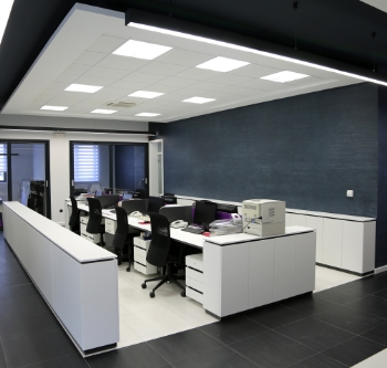 Office block with bright lighting